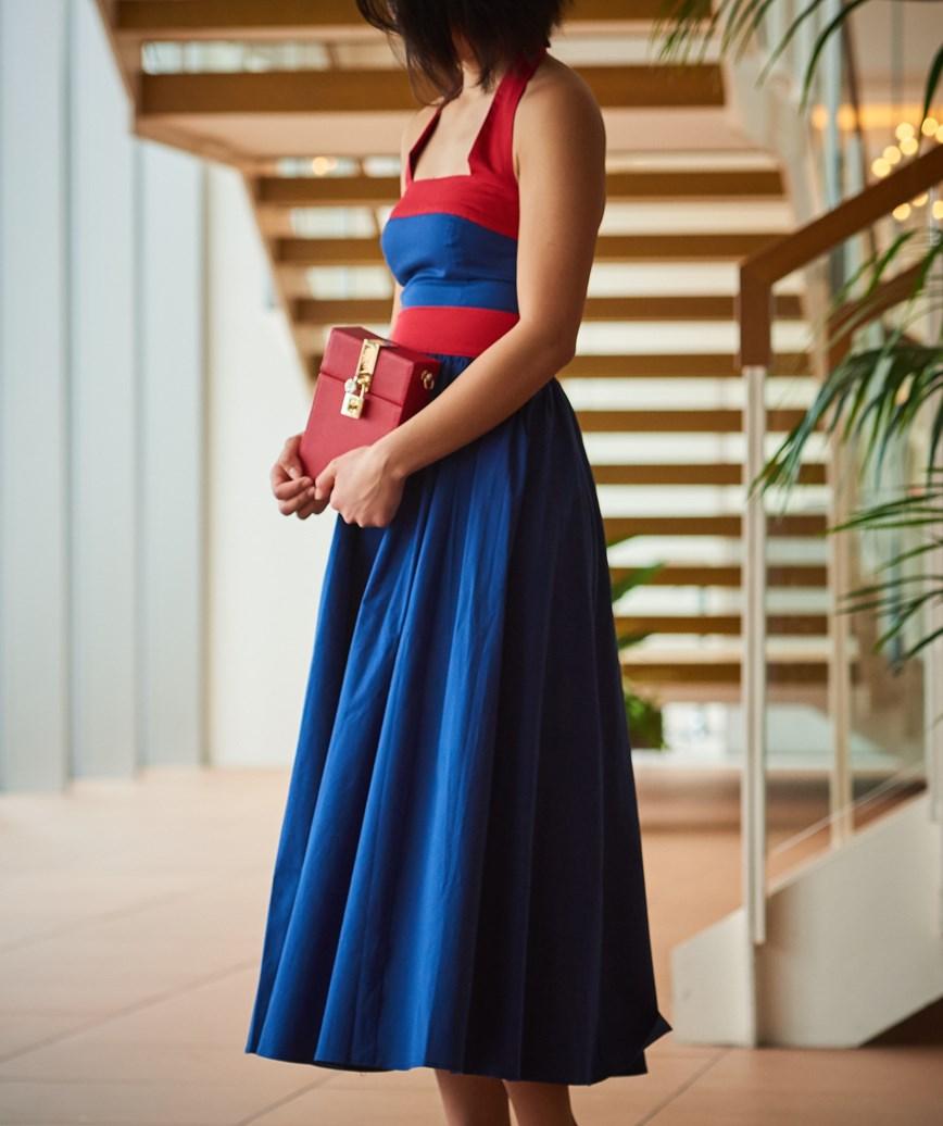 ホルターネックコットンミディアムドレス―ネイビー-M