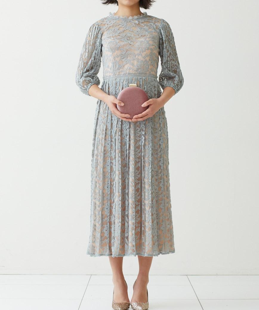 ハイネックAラインシースルーミディアムドレス―スモーキーグリーン-M