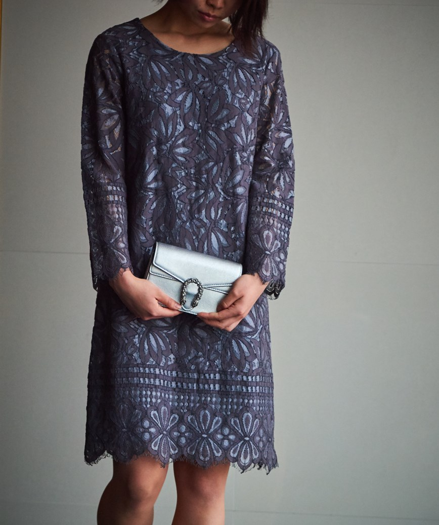 グレーフルスリーブショートドレス―グレー-M