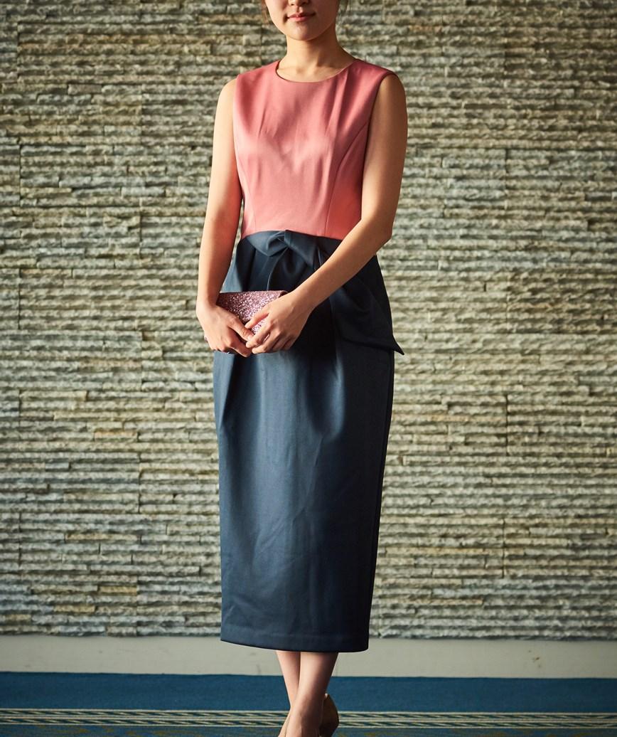 チューリップシルエットバイカラーミディアムドレス―ピンク×ネイビー-M