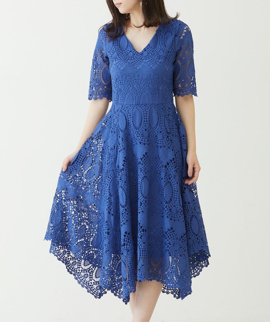 ショートスリーブAラインレースドレス―ブルー-M