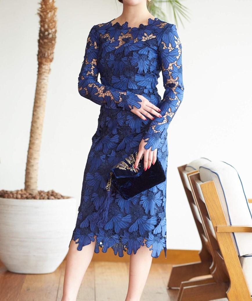 フルスリーブ総レースタイトドレス―ブルー-M