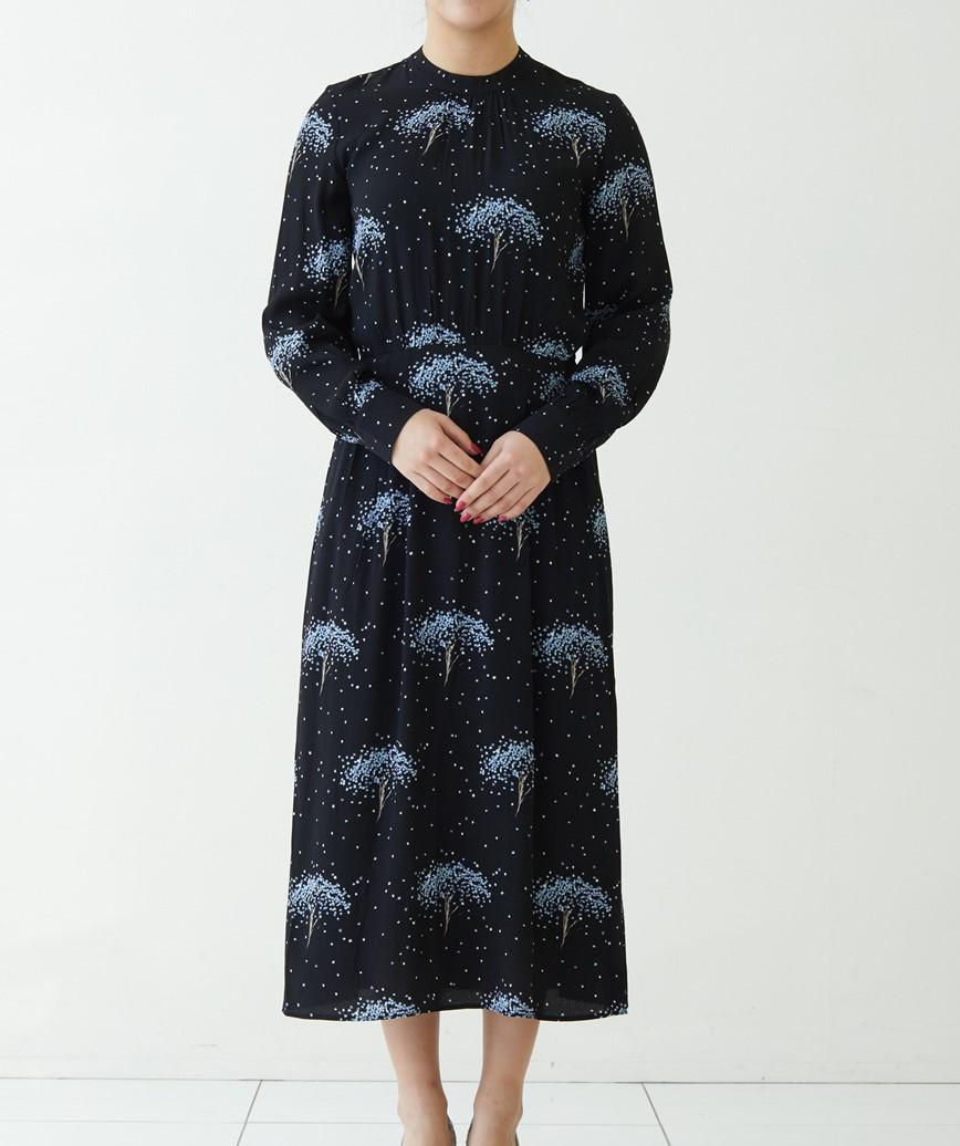 スターツリープリントミディアムドレス―ネイビー-L
