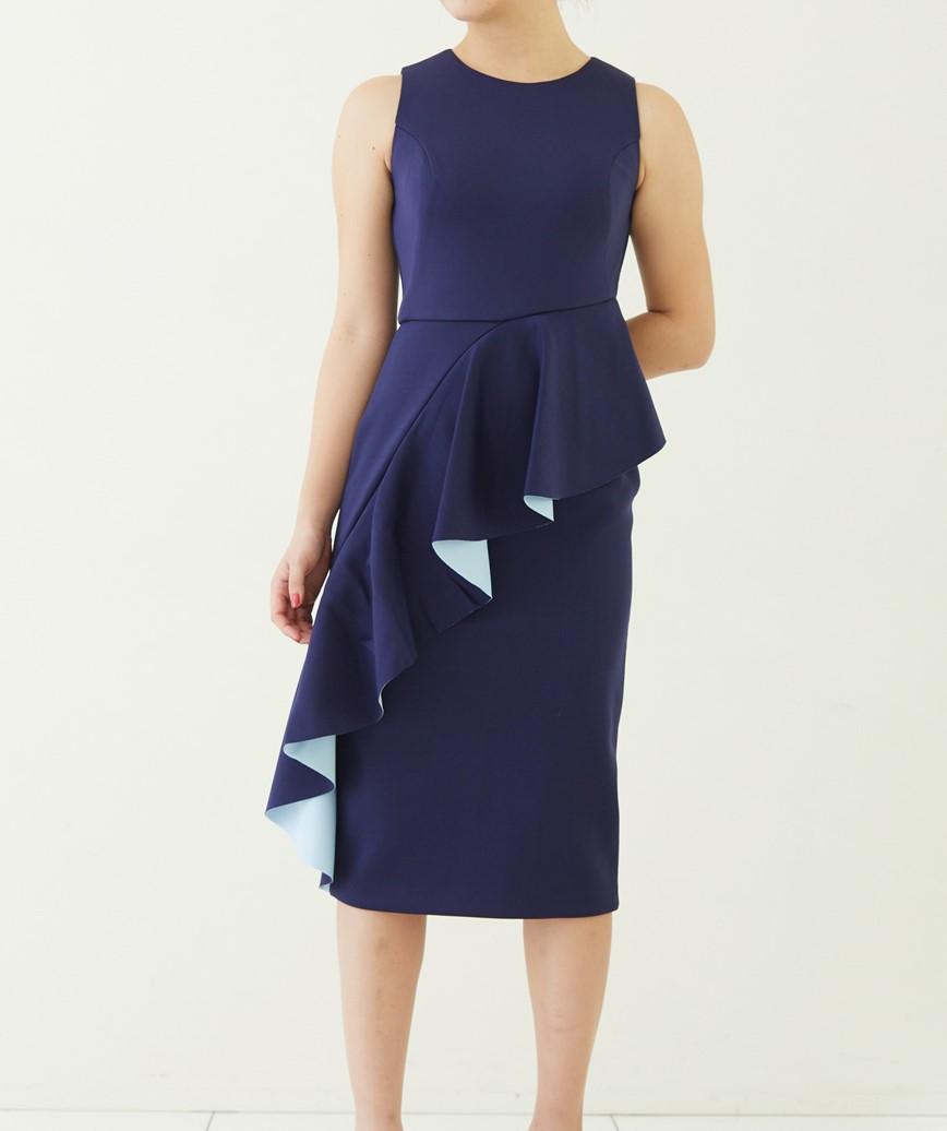 ボンテッドラッフルタイトミディアムドレス―ネイビー-M