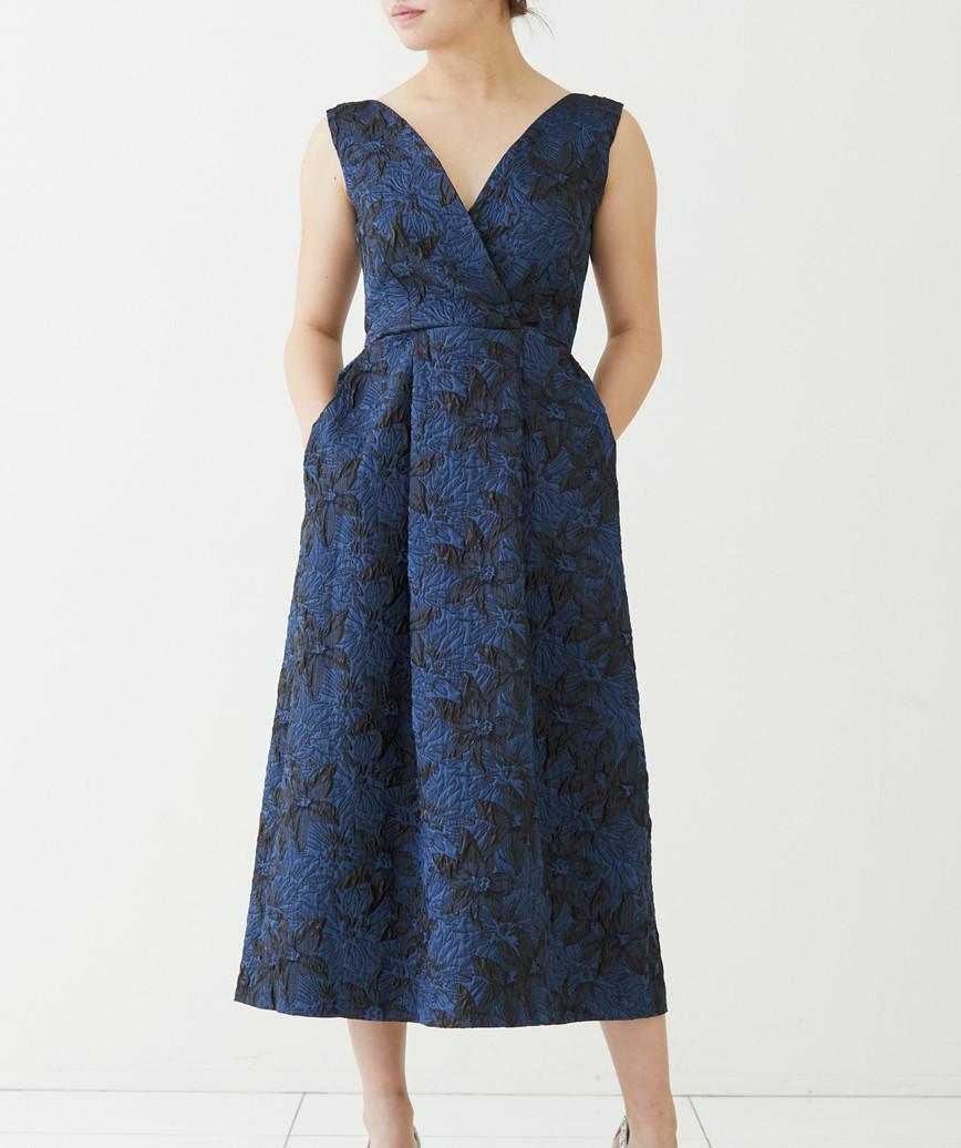 フルスカートミディアムドレス-ネイビー-M