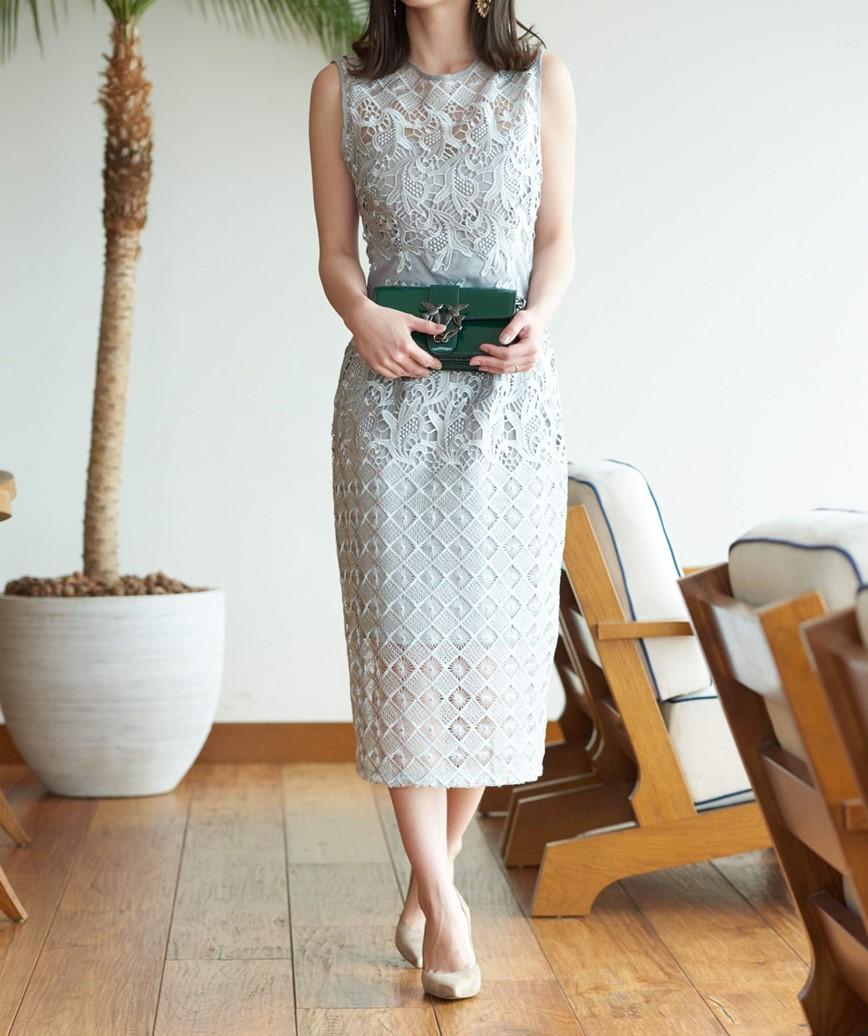 シルバーグレーレースミディアムドレス-グレー-M