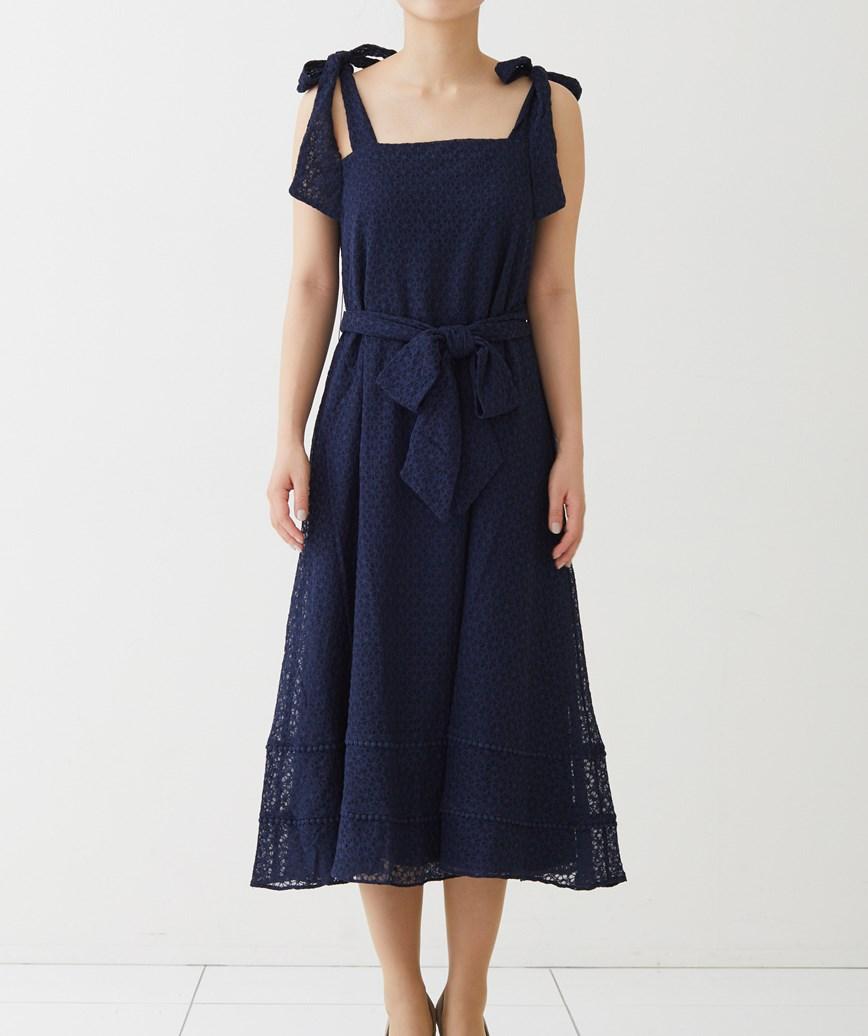 カジュアルレースリボンミディアムドレス-ネイビー-M