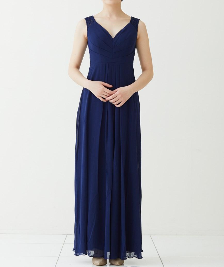 Vネックチュールロングドレス-ネイビー-M