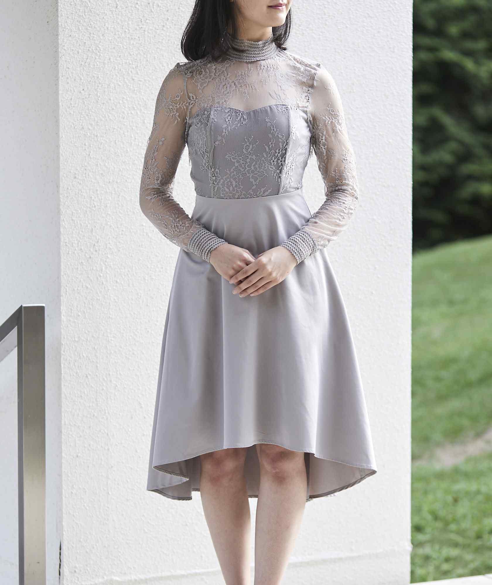 レースハイネックAラインショートドレス-グレー-M