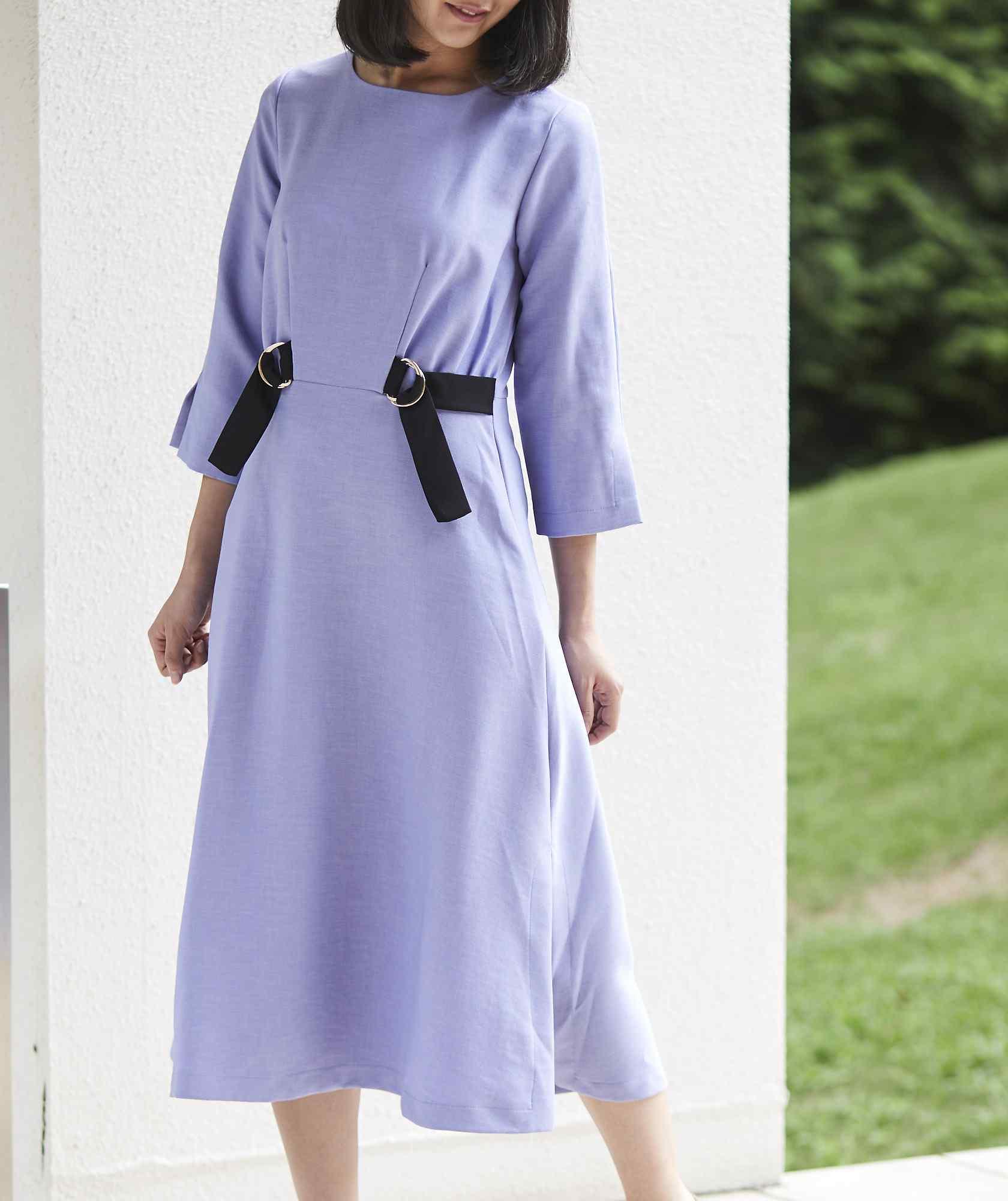 サイドデザインAラインミディアムドレス-パープル-M-L