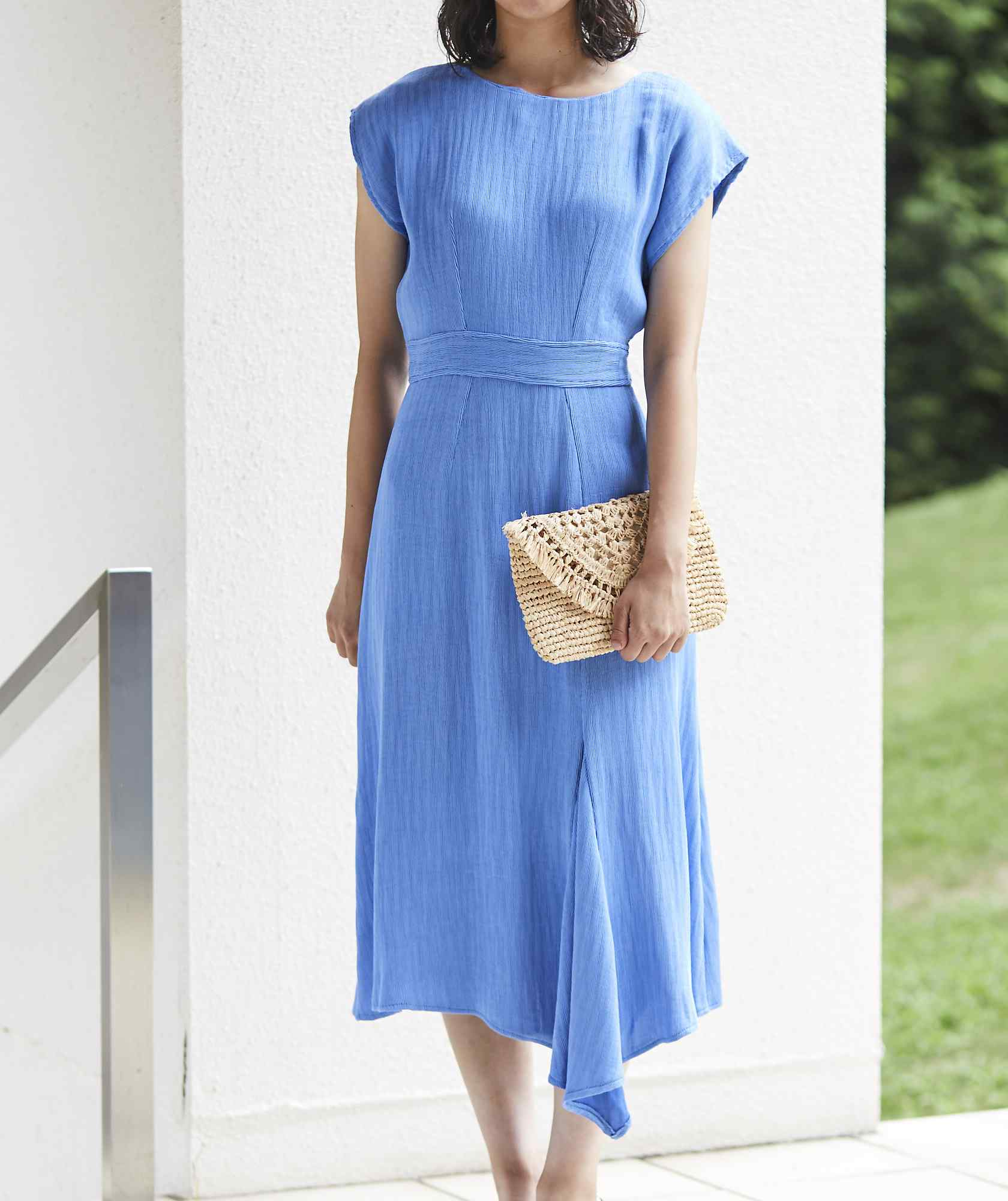 ショートスリーブアシンメトリーカラーミディアムドレス-ブルー-M
