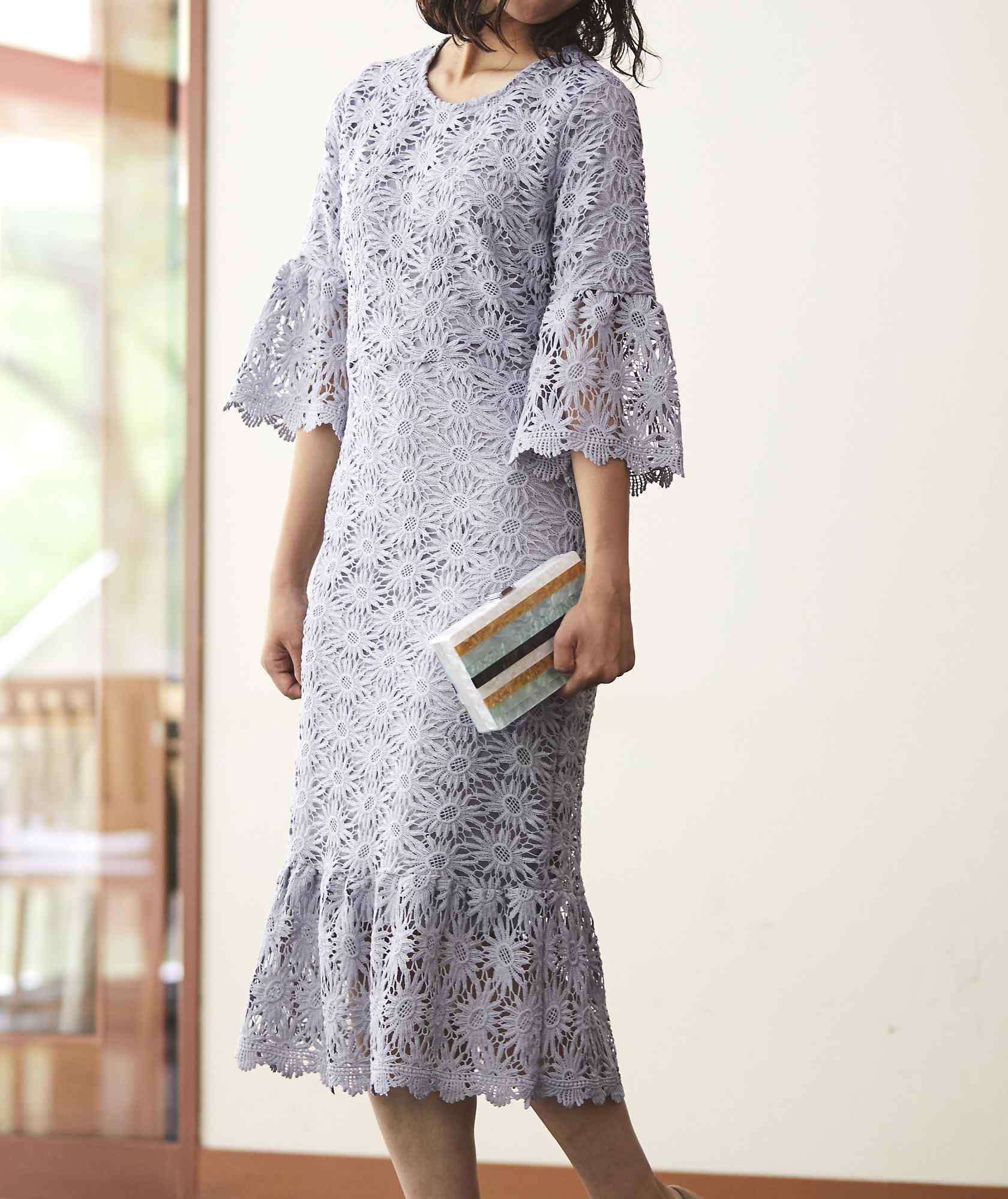 ブルーグレーフルレースミディアムドレス-グレー-L