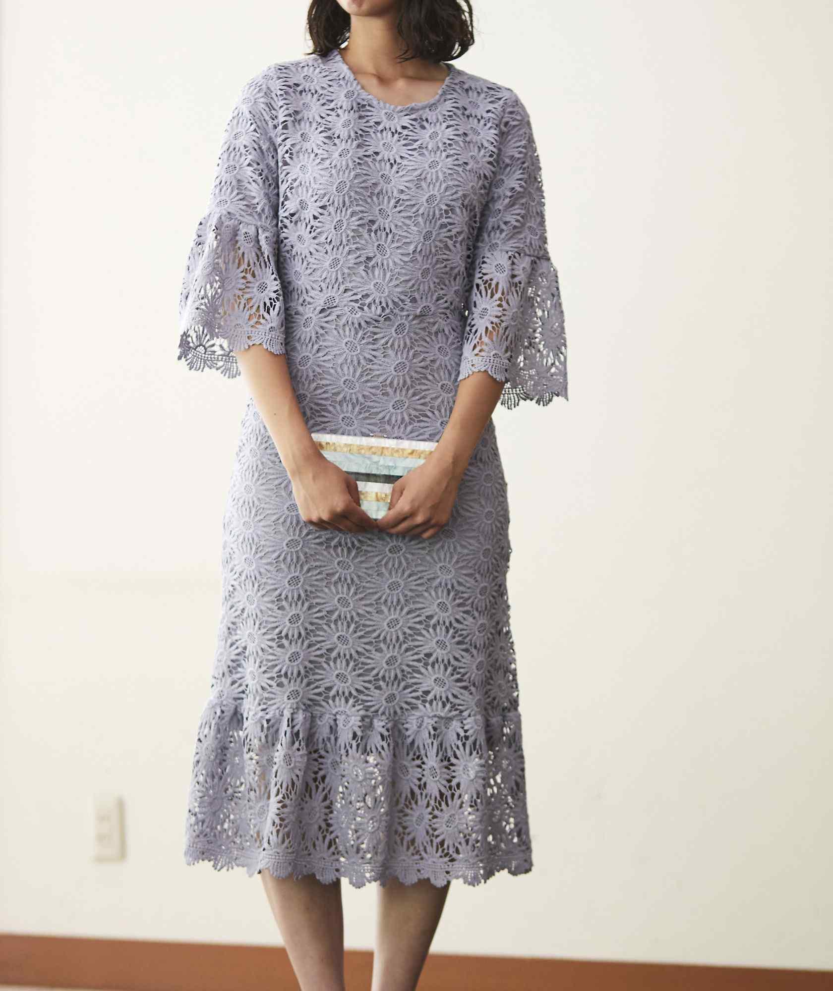 ブルーグレーフルレースミディアムドレス-グレー-M