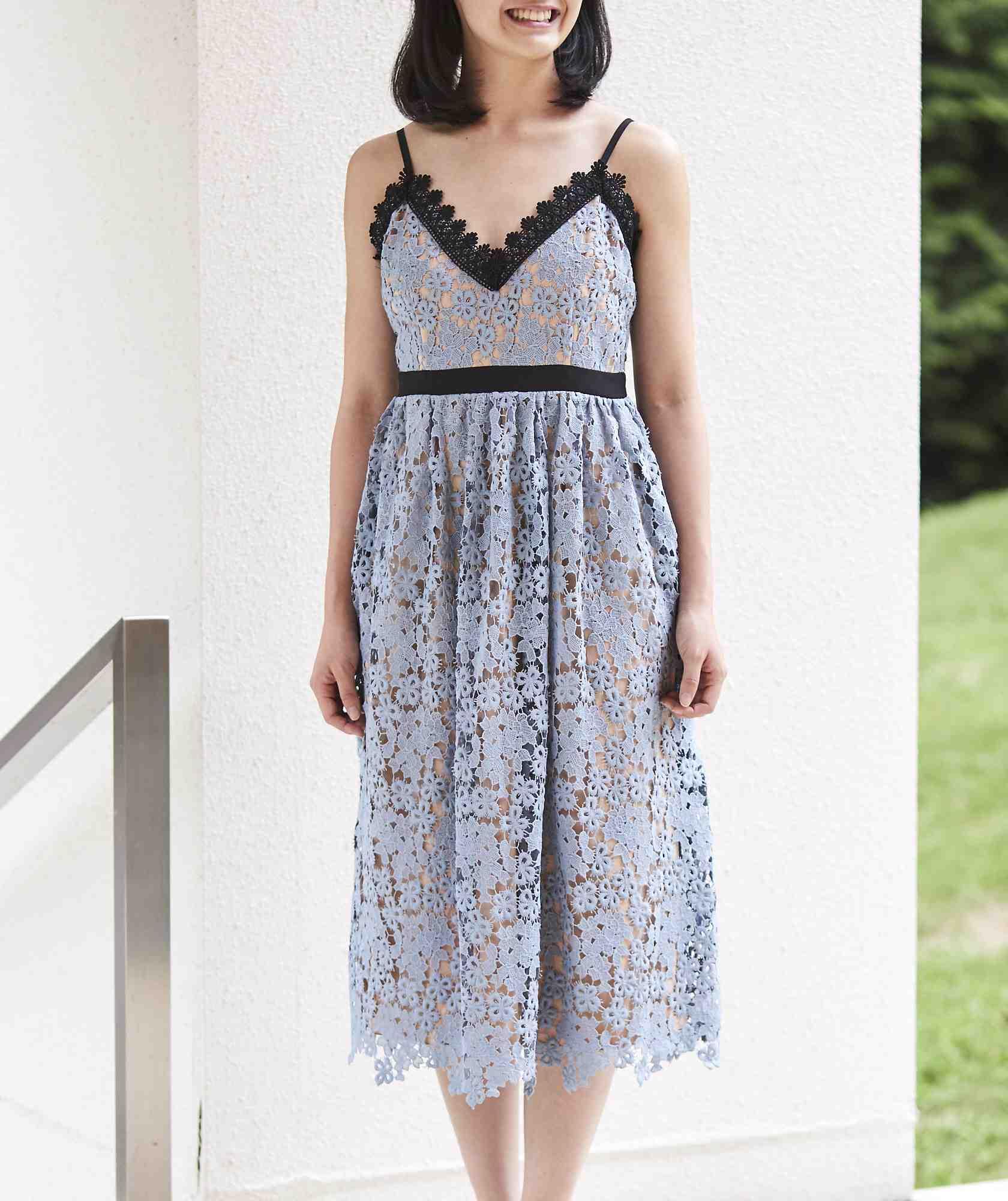 Aラインストラップショルダーフルレースミディアムドレス-ブルー-M