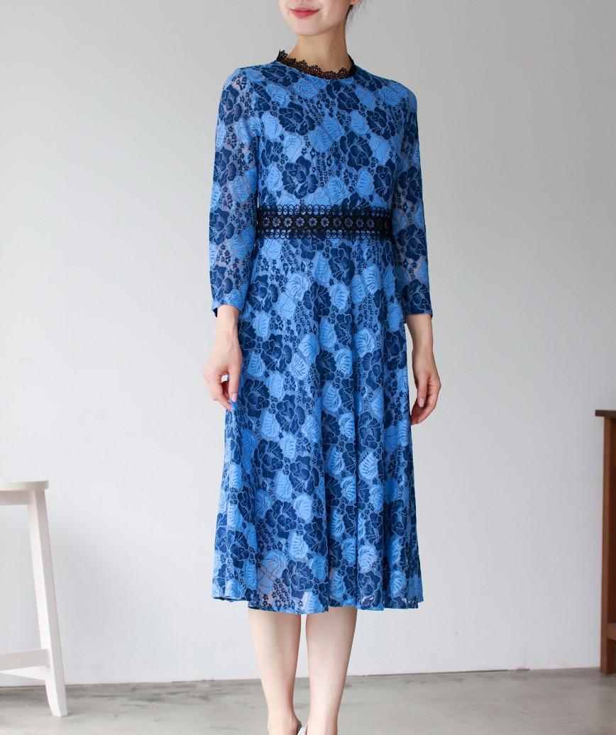フルレースウエストハイAラインミディアムドレス-ブルー-M