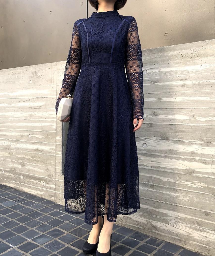フルスリーブハイネックレースミディアムドレス-ネイビー-M