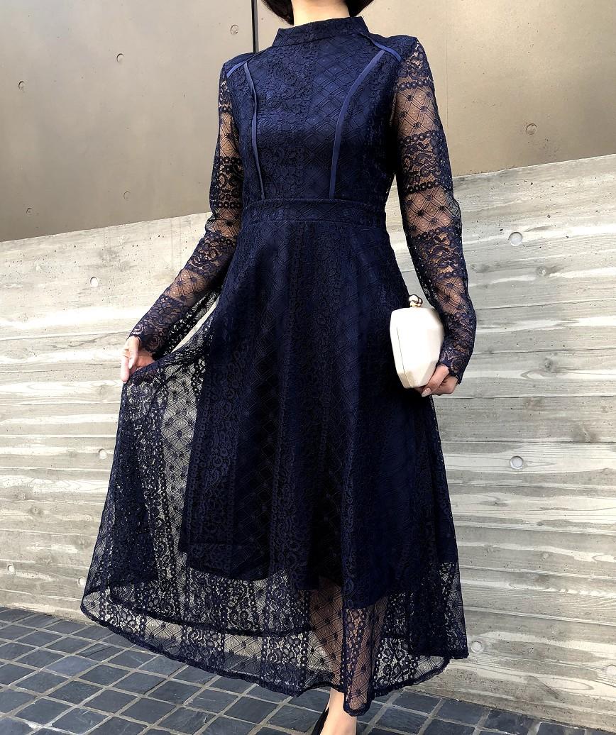 フルスリーブハイネックレースミディアムドレス-ネイビー-L