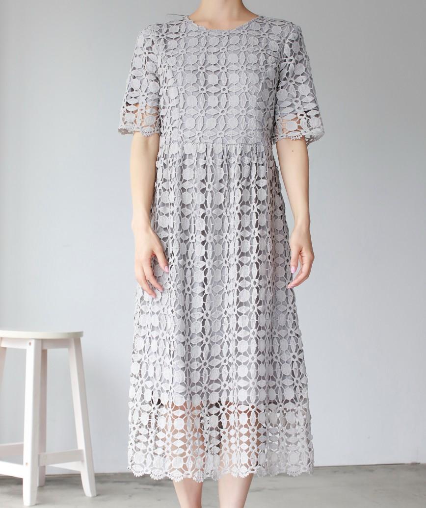 パターンフルレースAラインミディアムドレス-グレー-M