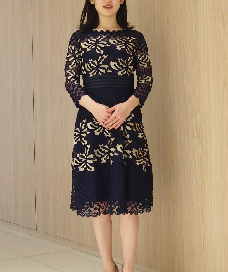 サブリナエンブロイダリーAラインミディアムドレス-ネイビー-M