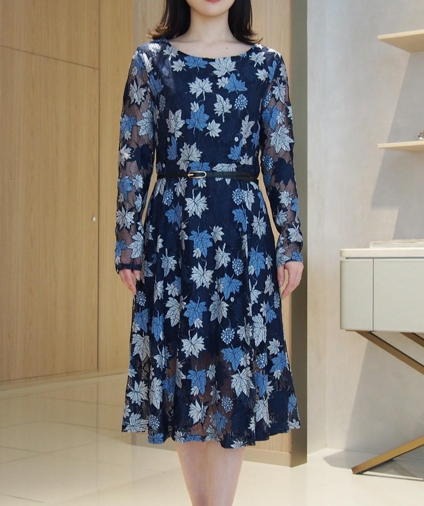 メープルエンブロイダリーレースミディアムドレス-ブルー-M