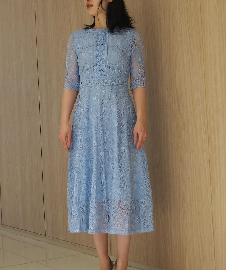 ライトブルーフルレーステントップミディアムドレス-ブルー-L