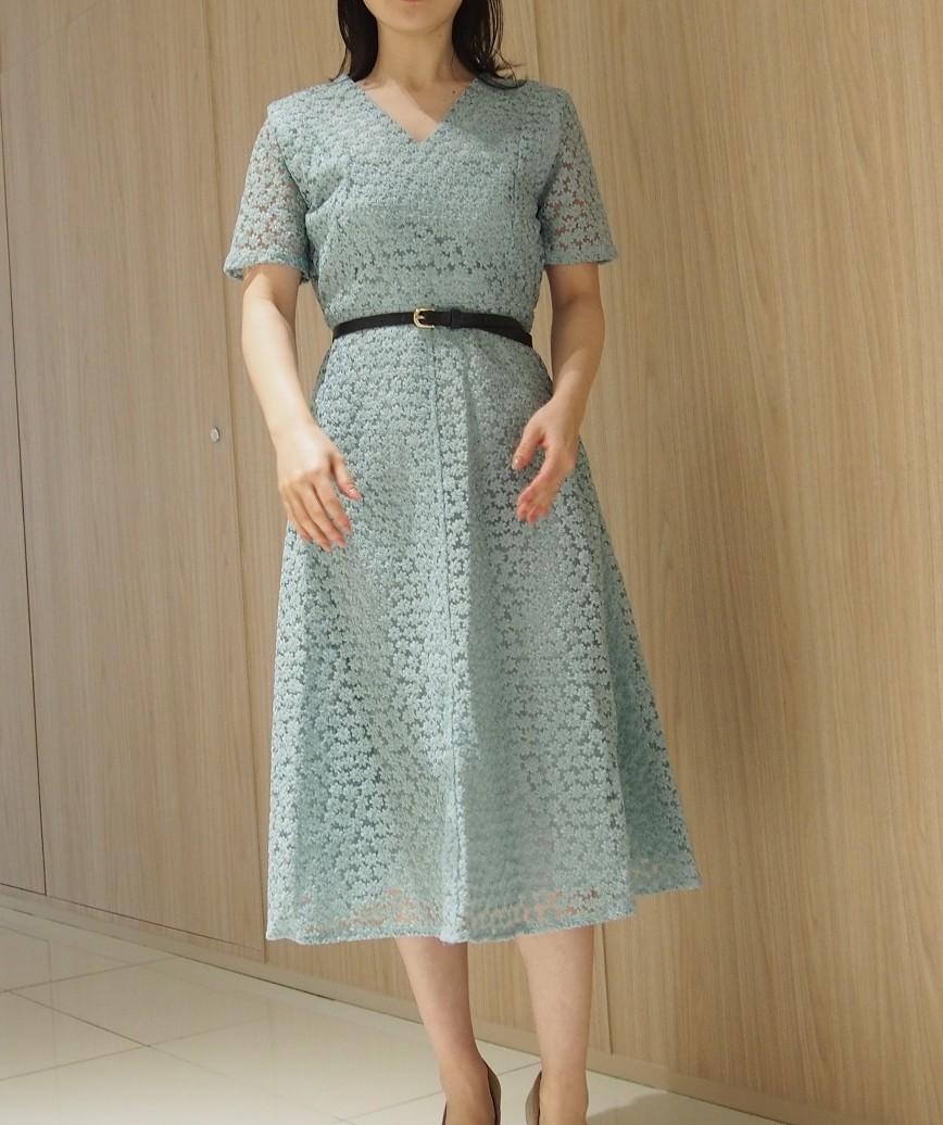 フルスモールフラワーエンブロイダリーミディアムドレス-ブルー-M