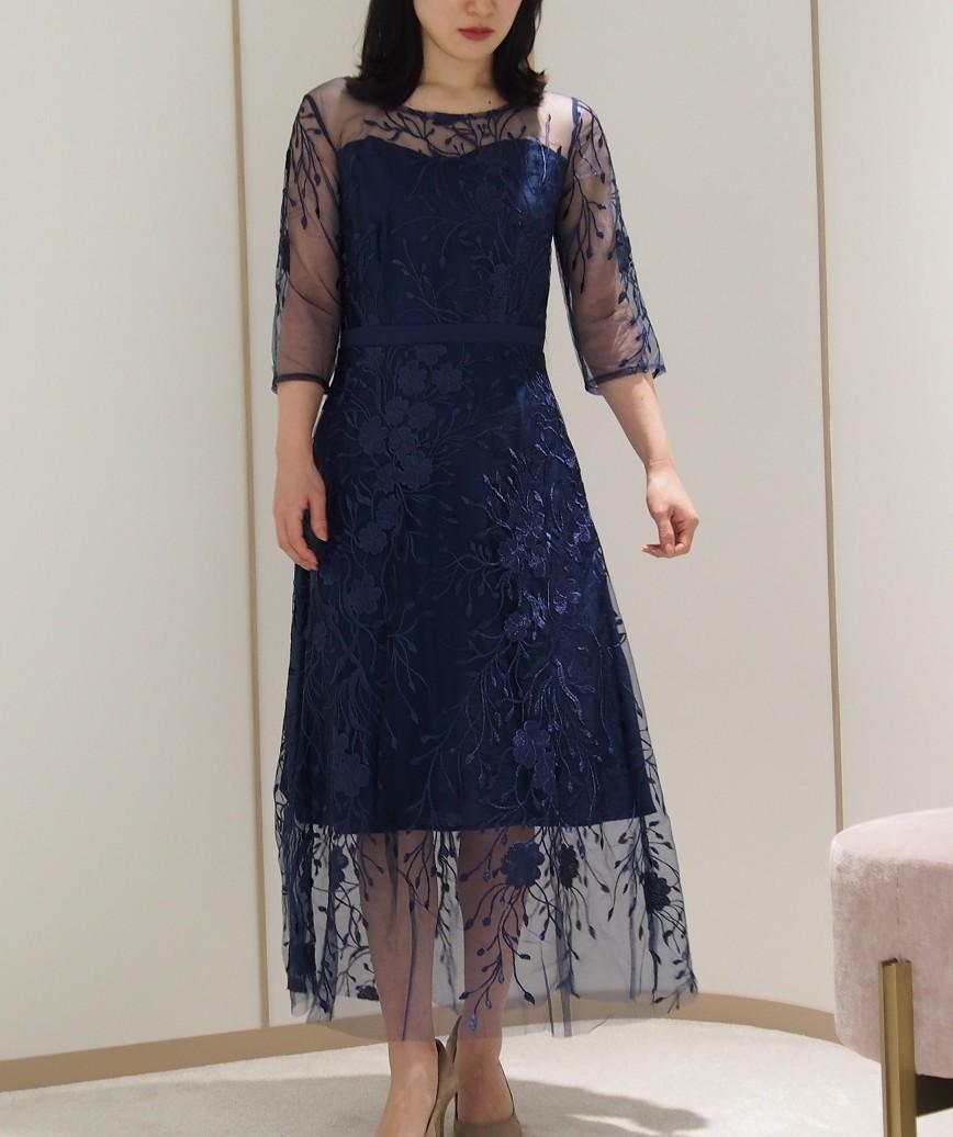 フラワーエンブロイダリーチュールミディアムドレス-ネイビー-M