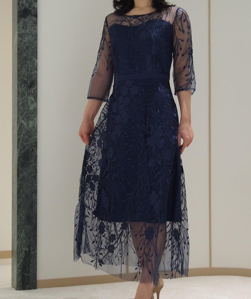 フラワーエンブロイダリーチュールミディアムドレス-ネイビー-L
