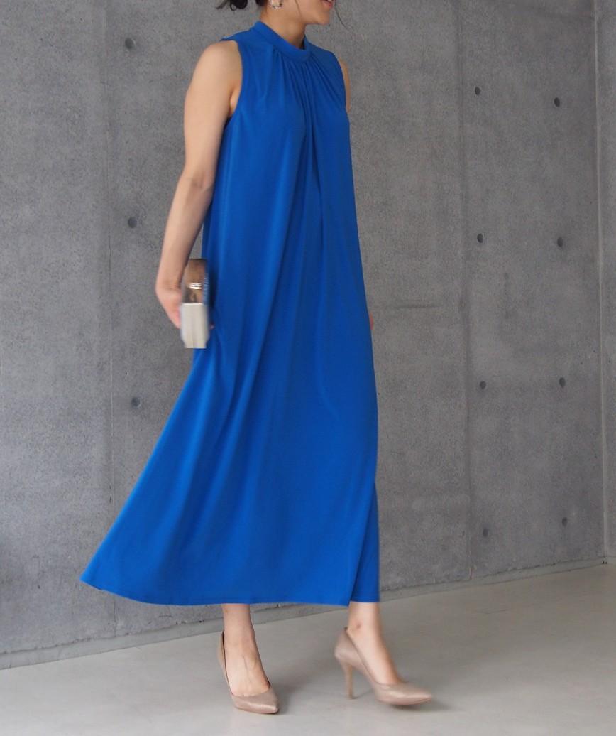 ハイネックドレープロングドレス-ブルー-M-L