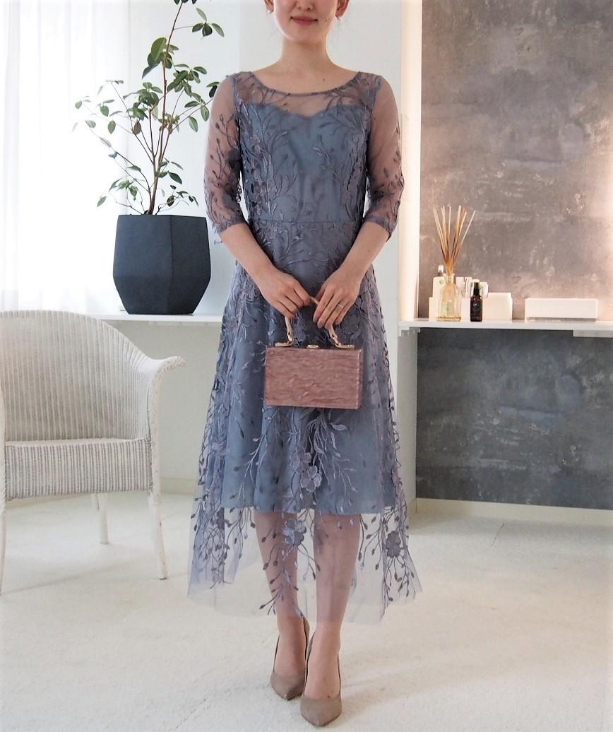 フラワーエンブロイダリーチュール2ndミディアムドレス-ブルー-L