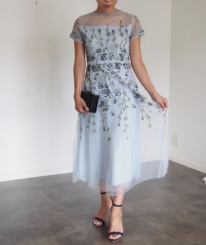 エンブロイダリーチュールボタニカルミディアムドレス-ブルー-L