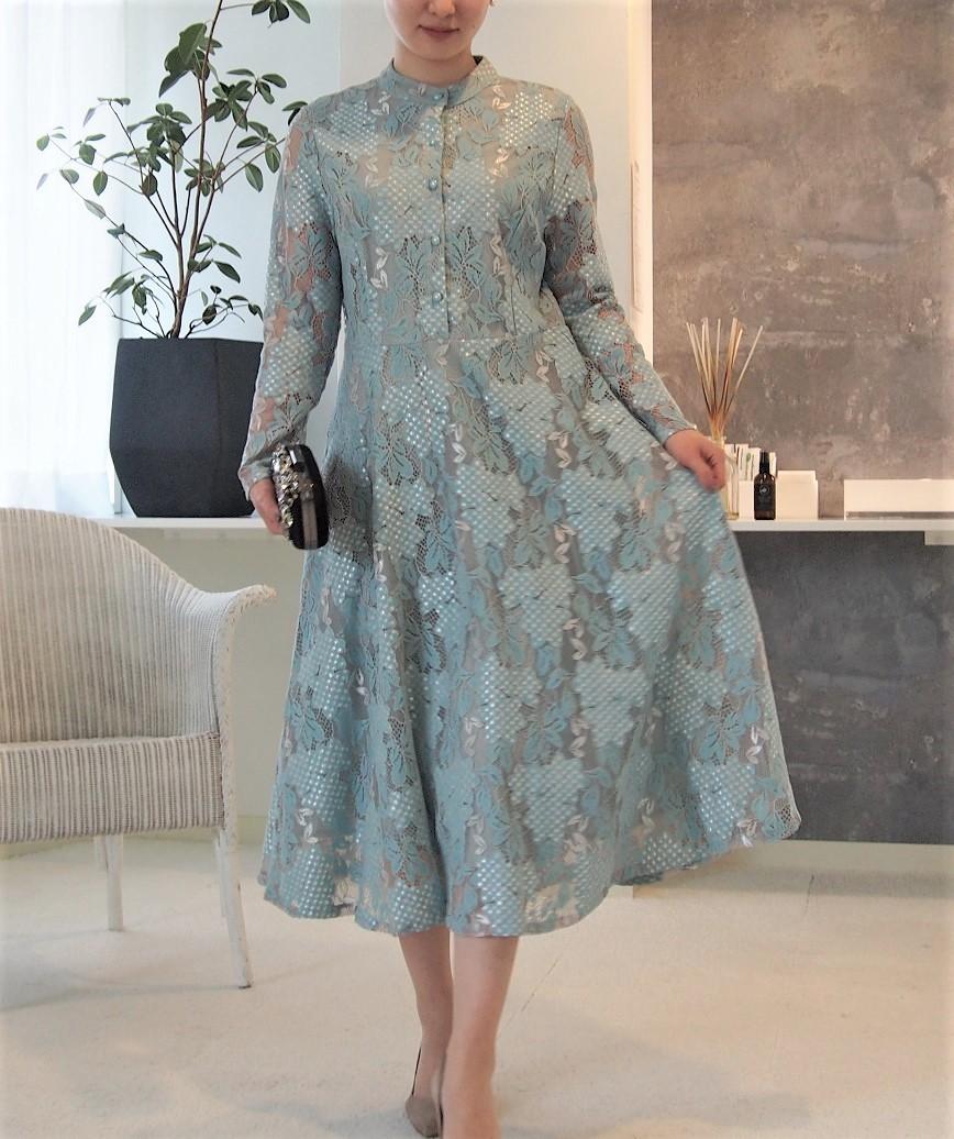 ハイネックフルスリーブボタンダウンミディアムドレス-ブルー-L