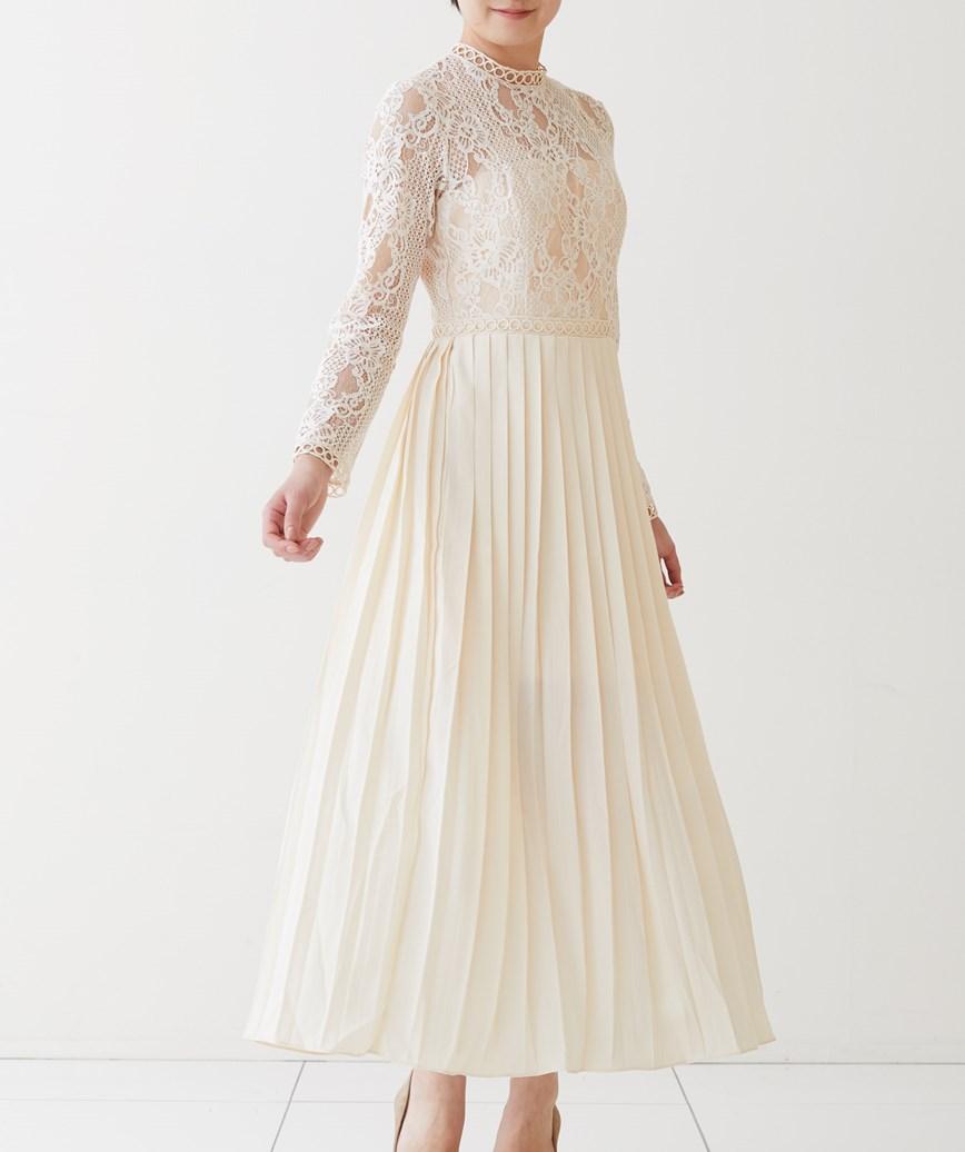 ハイネックレースフルスリーブミディアムドレス-ホワイト-M