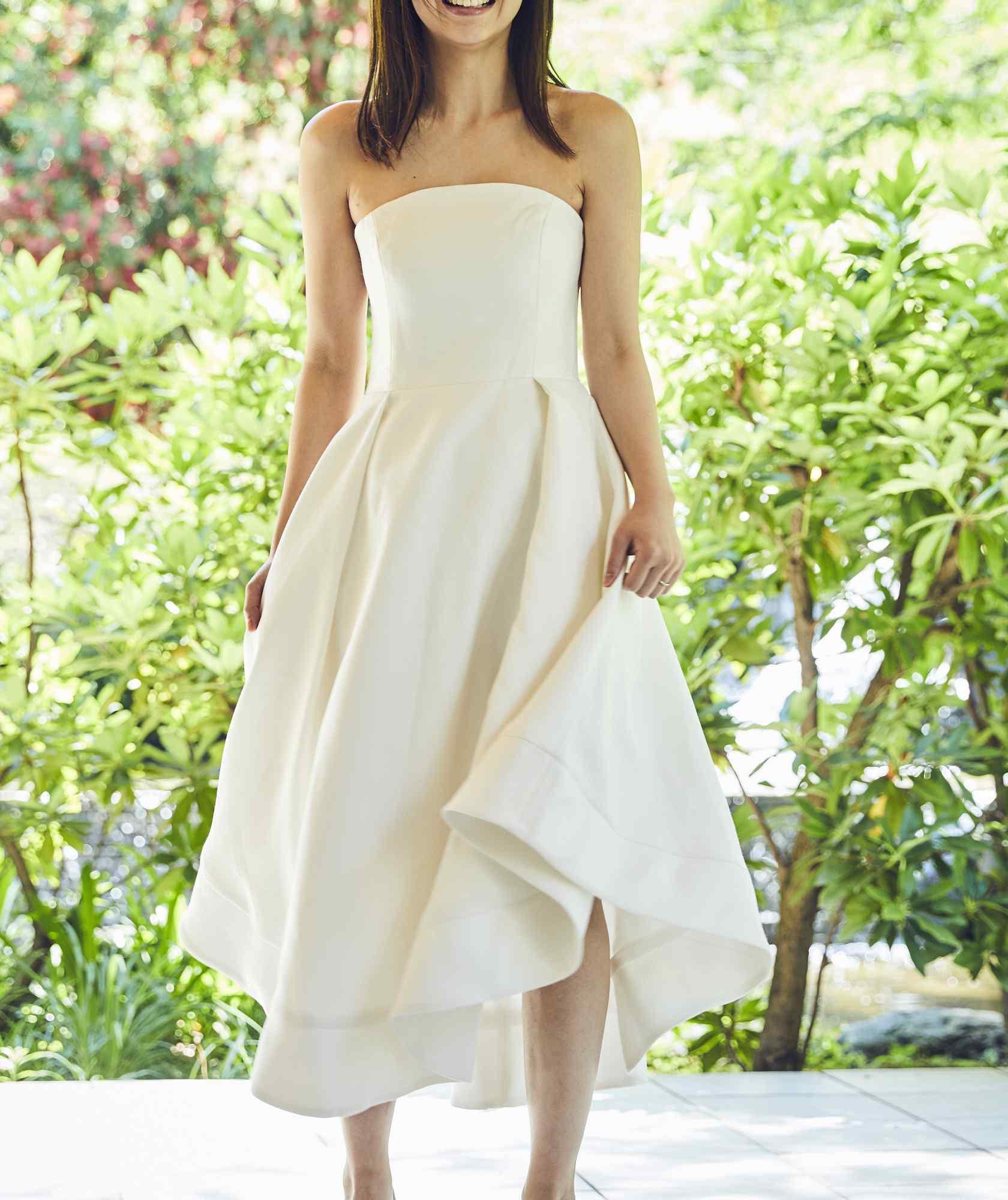 ボリュームラインカラーベアミディアムドレス-ホワイト-M