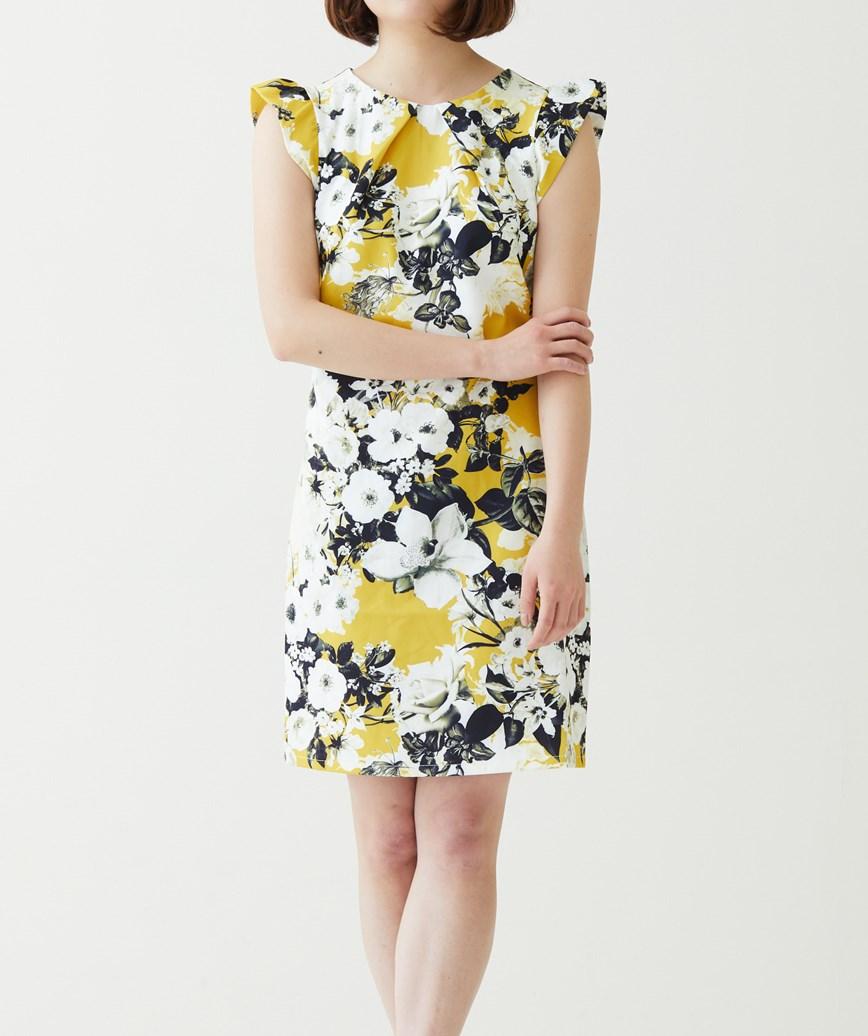 フラワープリントショートスリーブショートドレス―イエロー-M