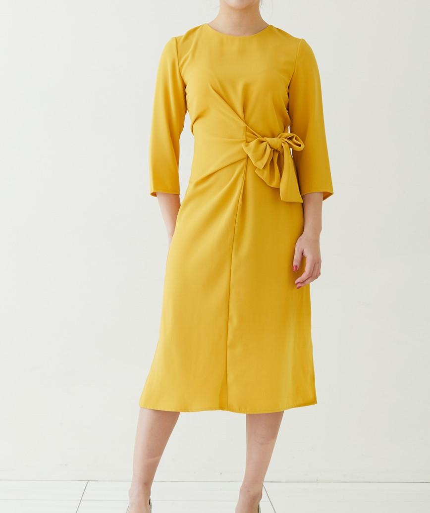 ツイストノットミディアムドレス―イエロー-L