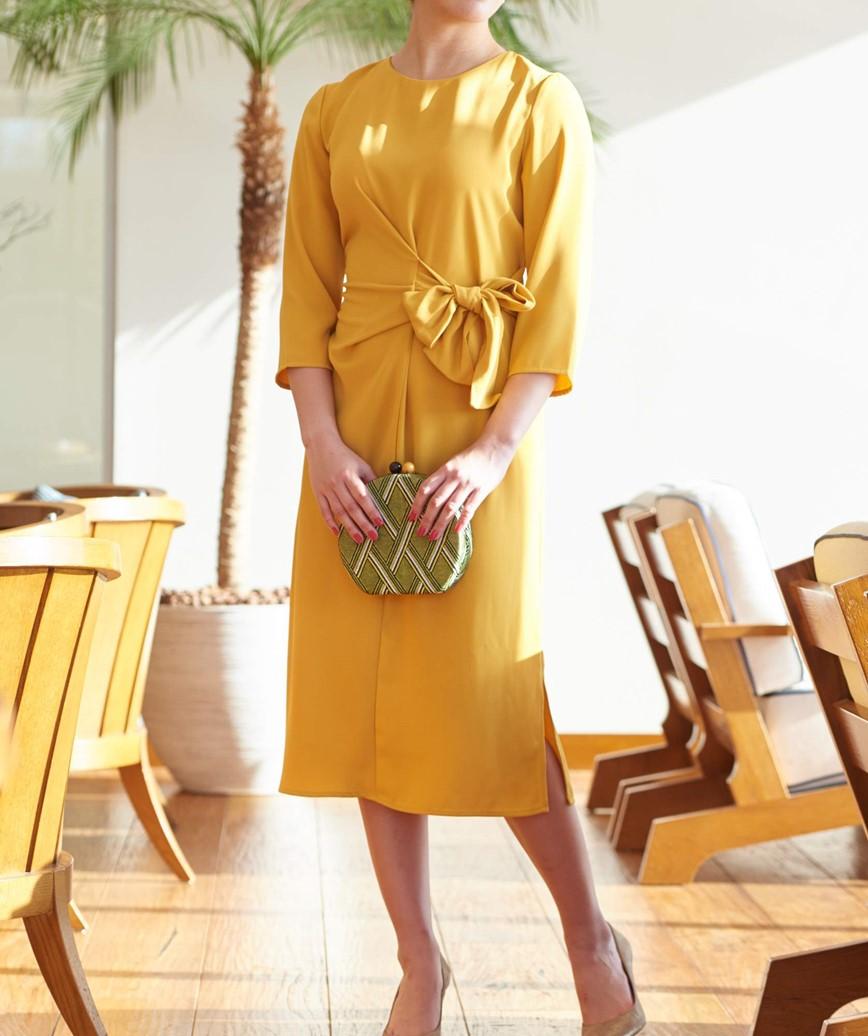 ツイストノットミディアムドレス―イエロー-M