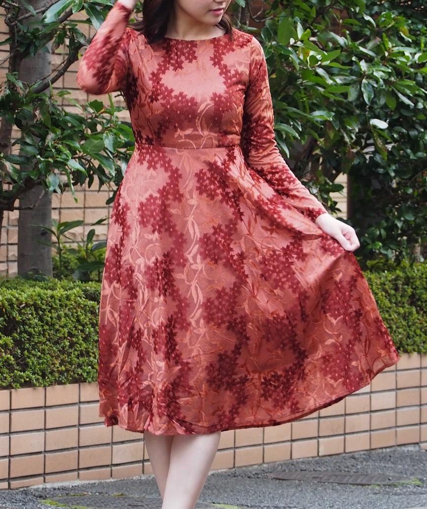 ベロアパターンAラインフルスリーブミディアムドレス-オレンジ-M