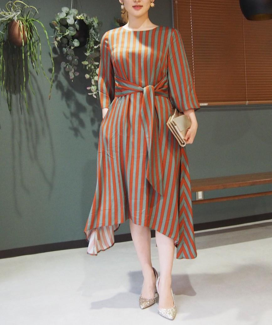 アシンメトリーストライプウエストマークミディアムドレス-オレンジ-M