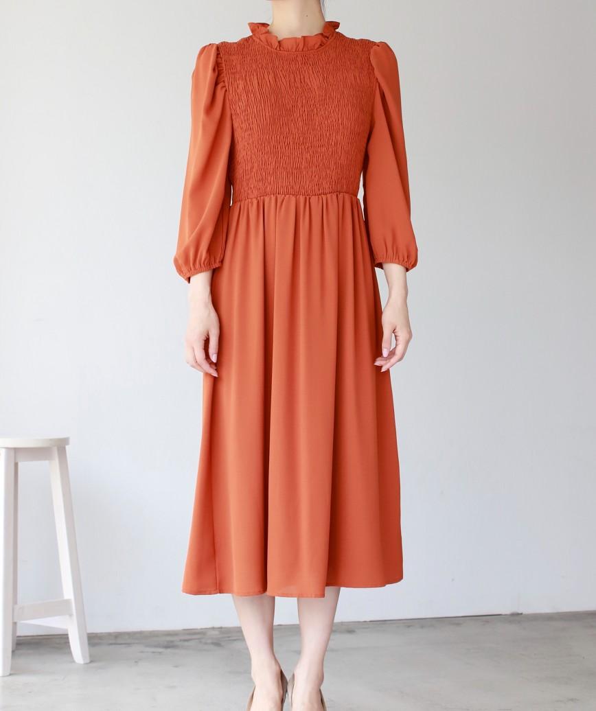 トップギャザーハイネックAラインミディアムドレス-オレンジ-M