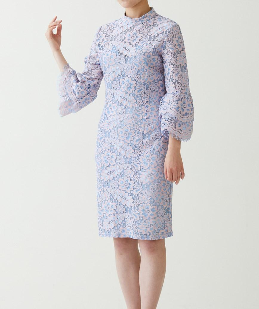 袖フリル総レースショートドレス―ピンク-M