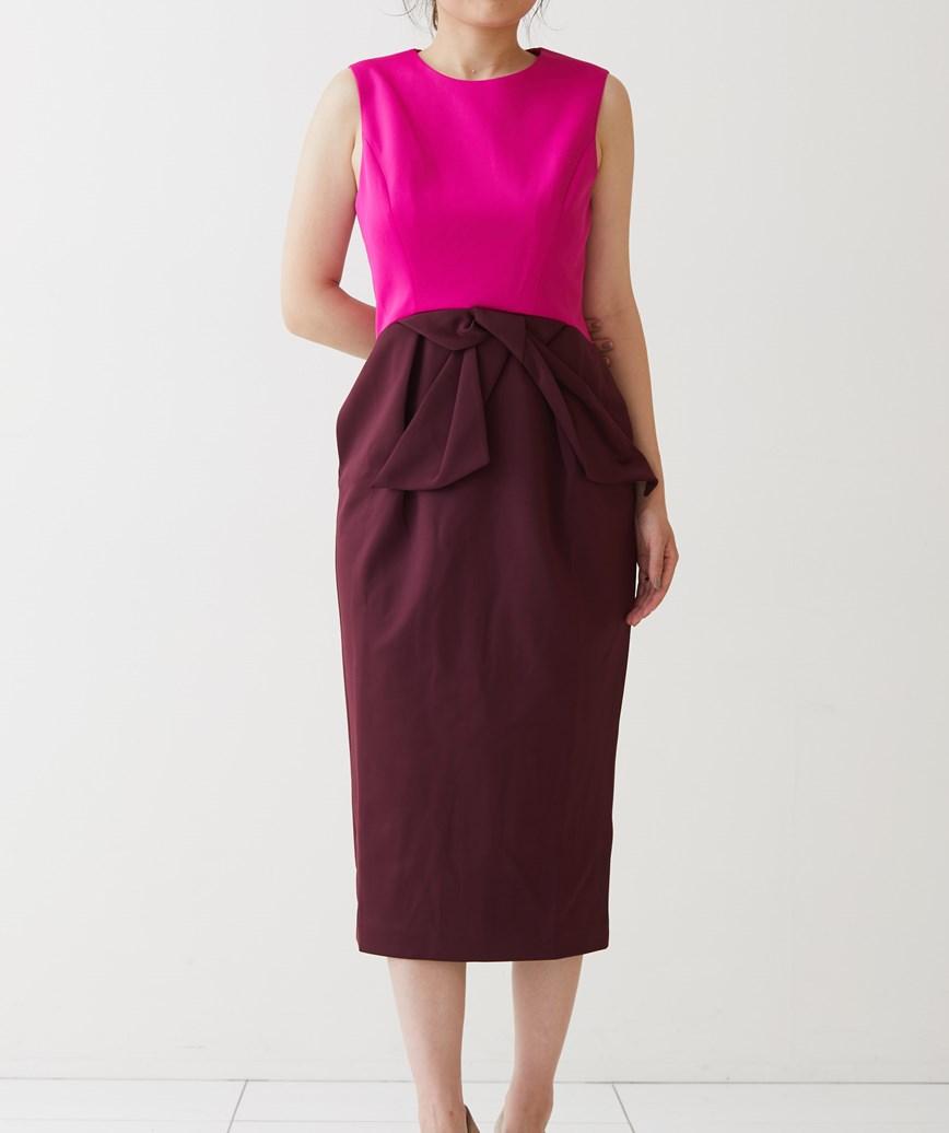 チューリップシルエットバイカラーミディアムドレス-ピンク×レッド-M