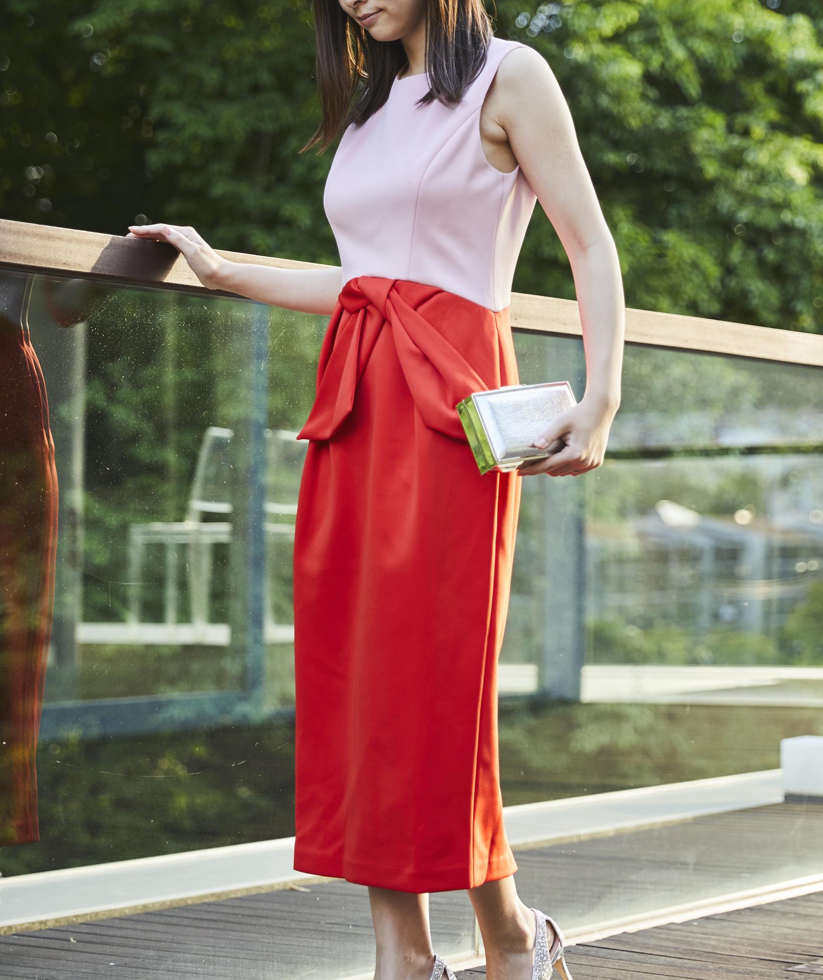 チューリップシルエットバイカラーミディアムドレス―ピンク×レッド-M