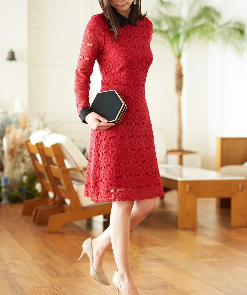 ブラックカラータイトショートドレス―レッド-M