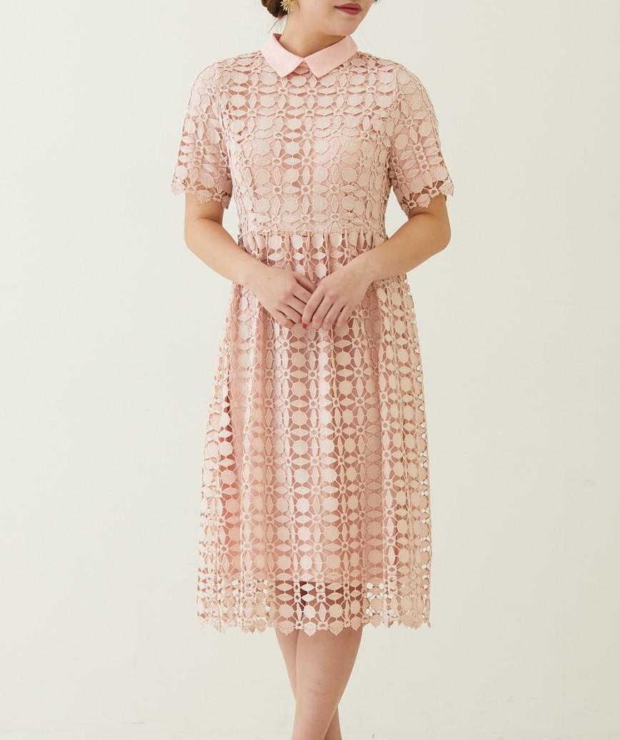 カラーレースAラインドレス―ピンク-M
