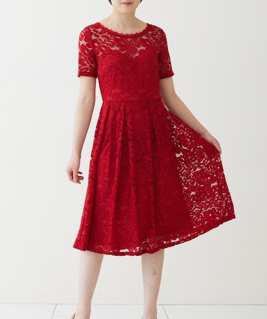 ショートスリーブフレアレースミディアムドレス-レッド-M