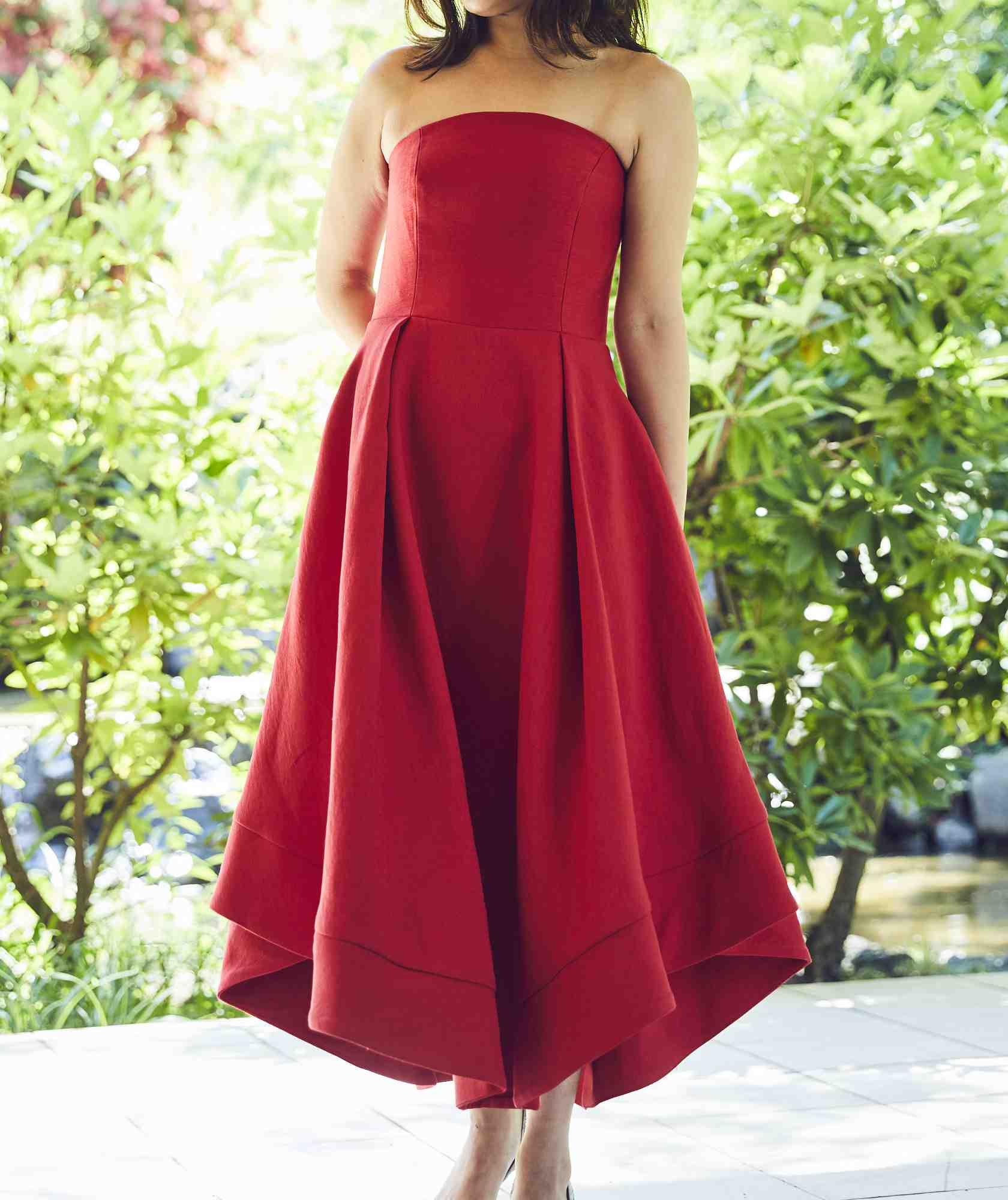 ボリュームラインカラーベアミディアムドレス-レッド-M