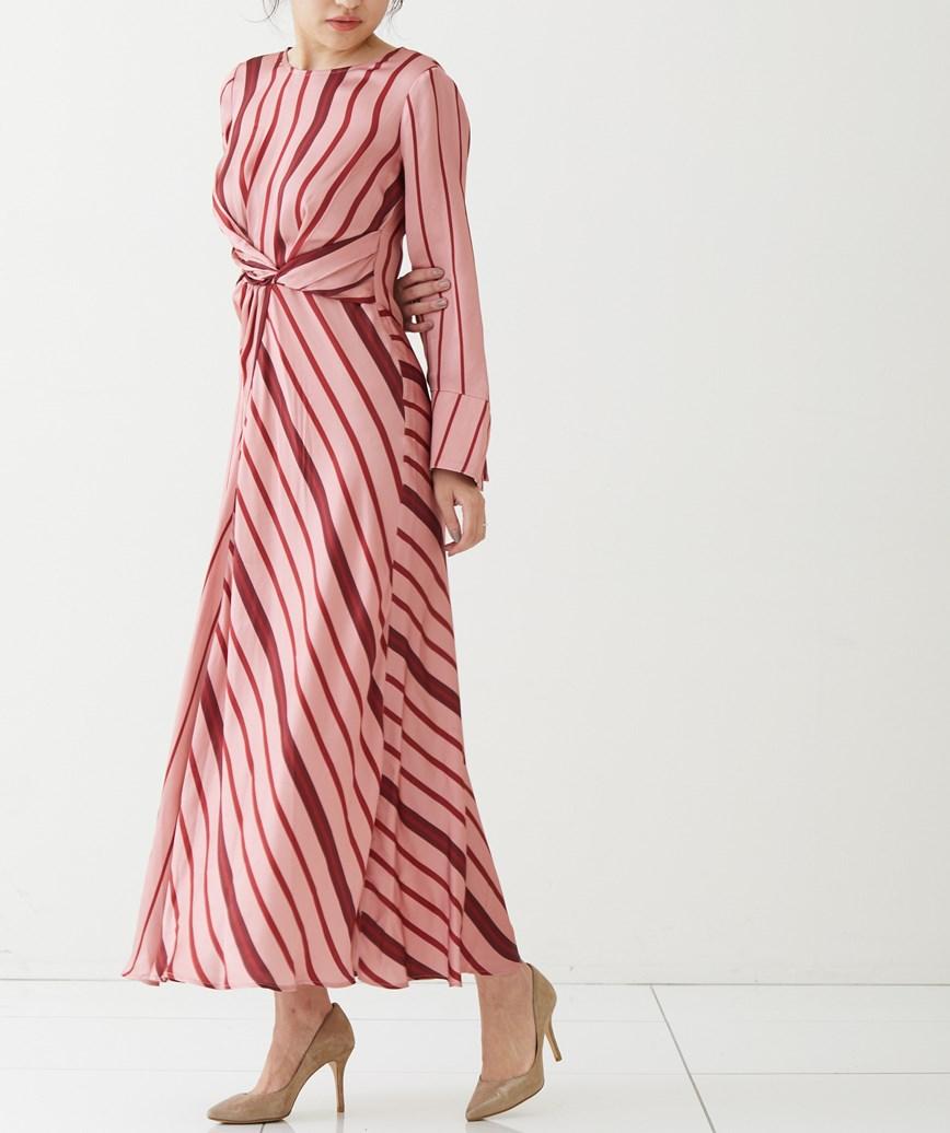 ストライプノットロングドレス-ピンク-M