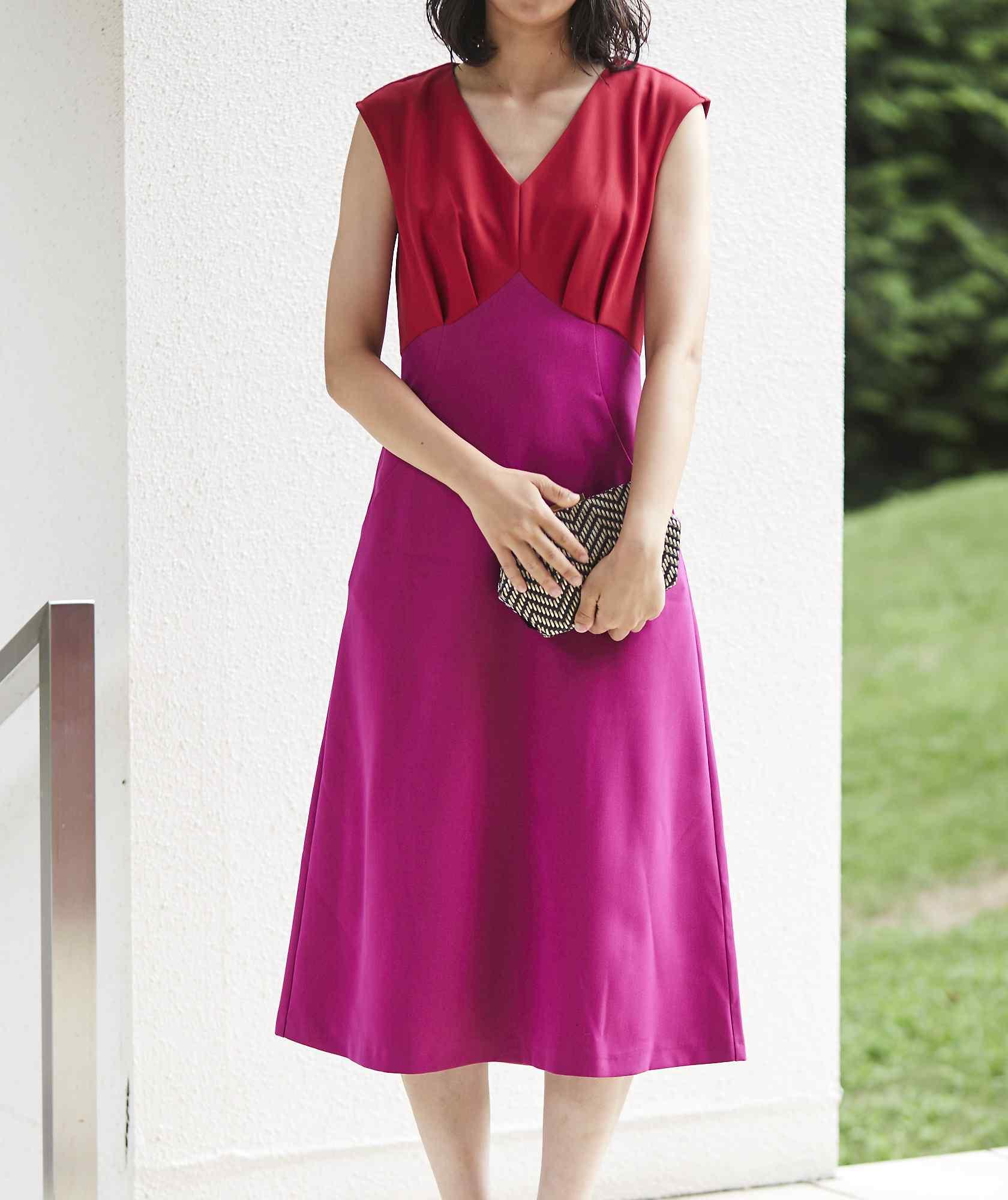 ブロッキングカラーAラインミディアムドレス-ピンク-M-L