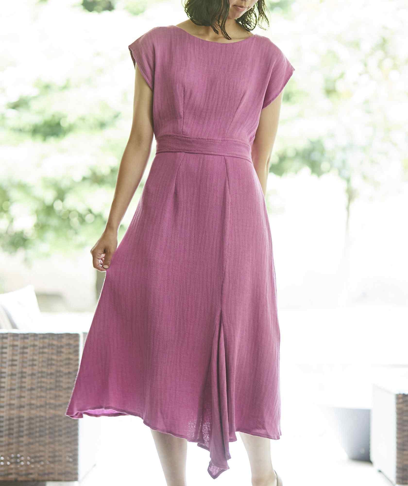 ショートスリーブアシンメトリーカラーミディアムドレス-ピンク-M
